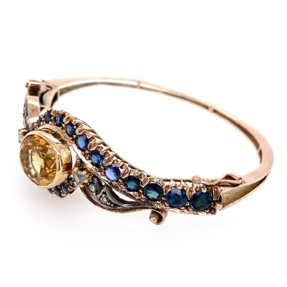 Image 2 for 15K Victorian Bangle Bracelet with Sapphires, Citrine & Diamonds 22.1g