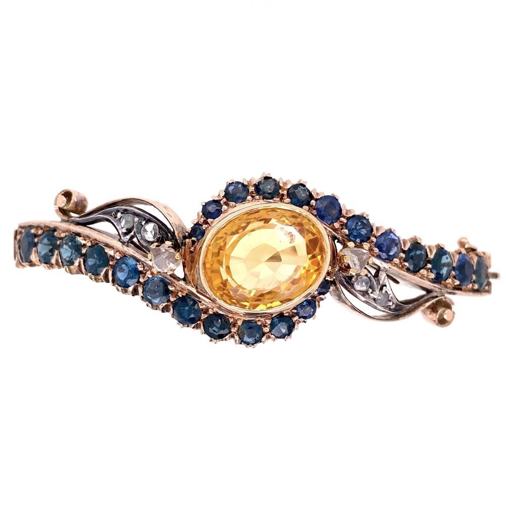 15K Victorian Bangle Bracelet with Sapphires, Citrine & Diamonds 22.1g