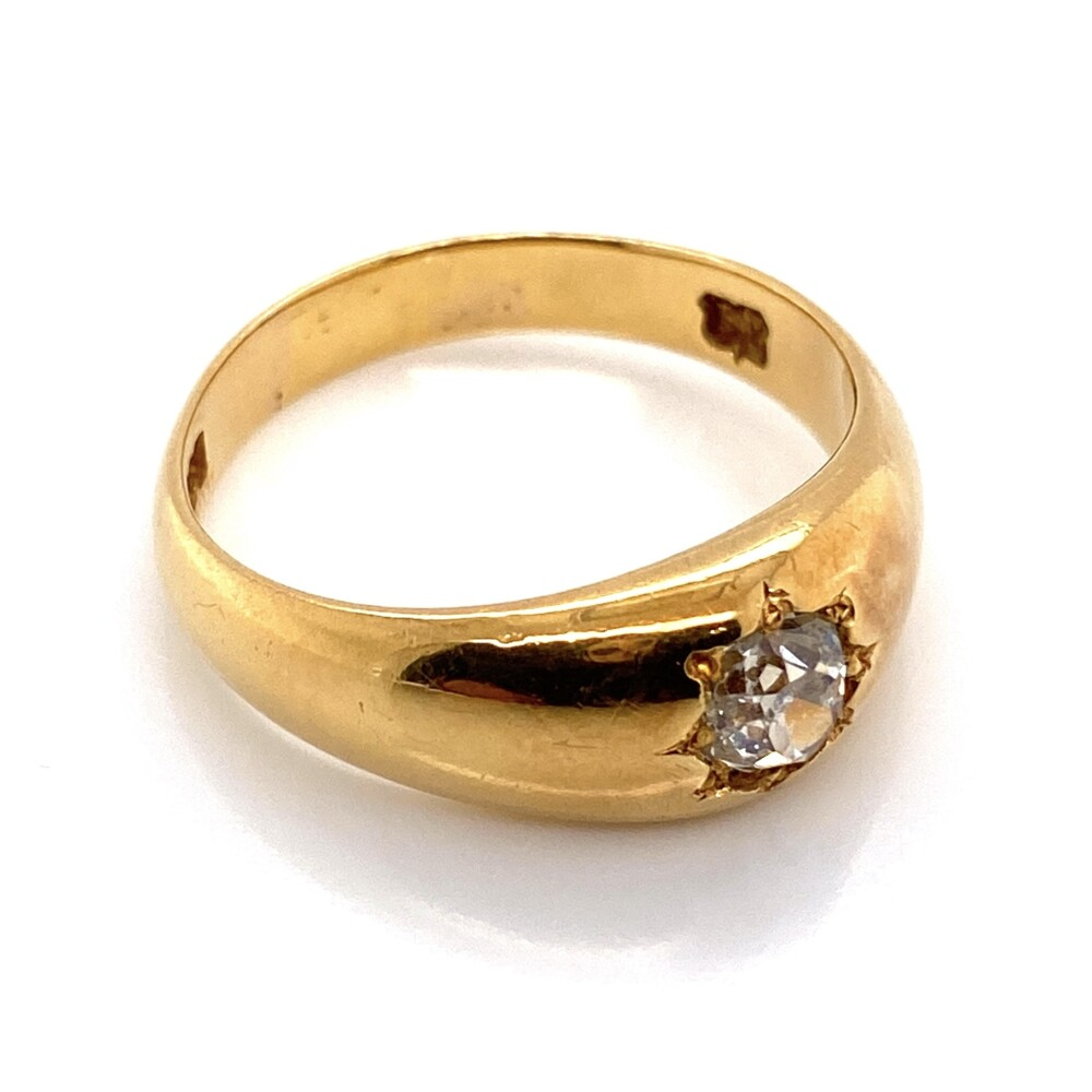 Image 2 for 18K Yellow Gold Heavy Solitaire Ring with .50ct Old Cut Diamond, 7.1g