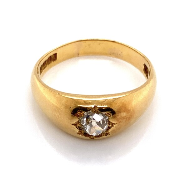 Closeup photo of 18K Yellow Gold Heavy Solitaire Ring with .50ct Old Cut Diamond, 7.1g
