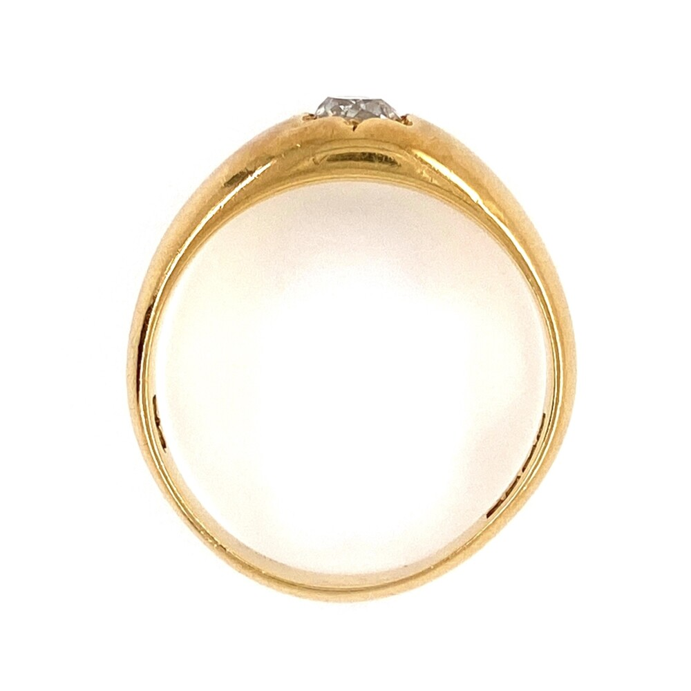 18K Yellow Gold Heavy Solitaire Ring with .50ct Old Cut Diamond, 7.1g