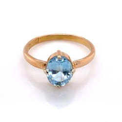 Closeup photo of 22K Yellow Gold 1.34ct Oval Aquamarine Solitaire Ring 2.2g, s5