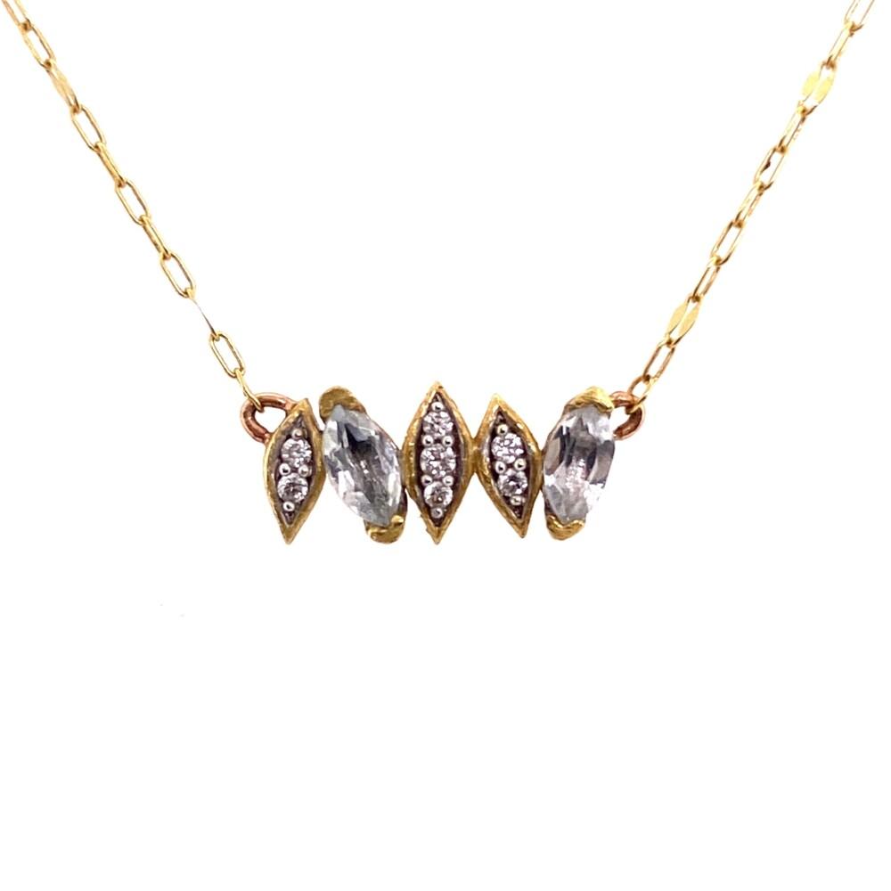 "Image 2 for 18K YG JudeFrances Simple White Topaz & Diamond Necklace 1.5g, 16"""