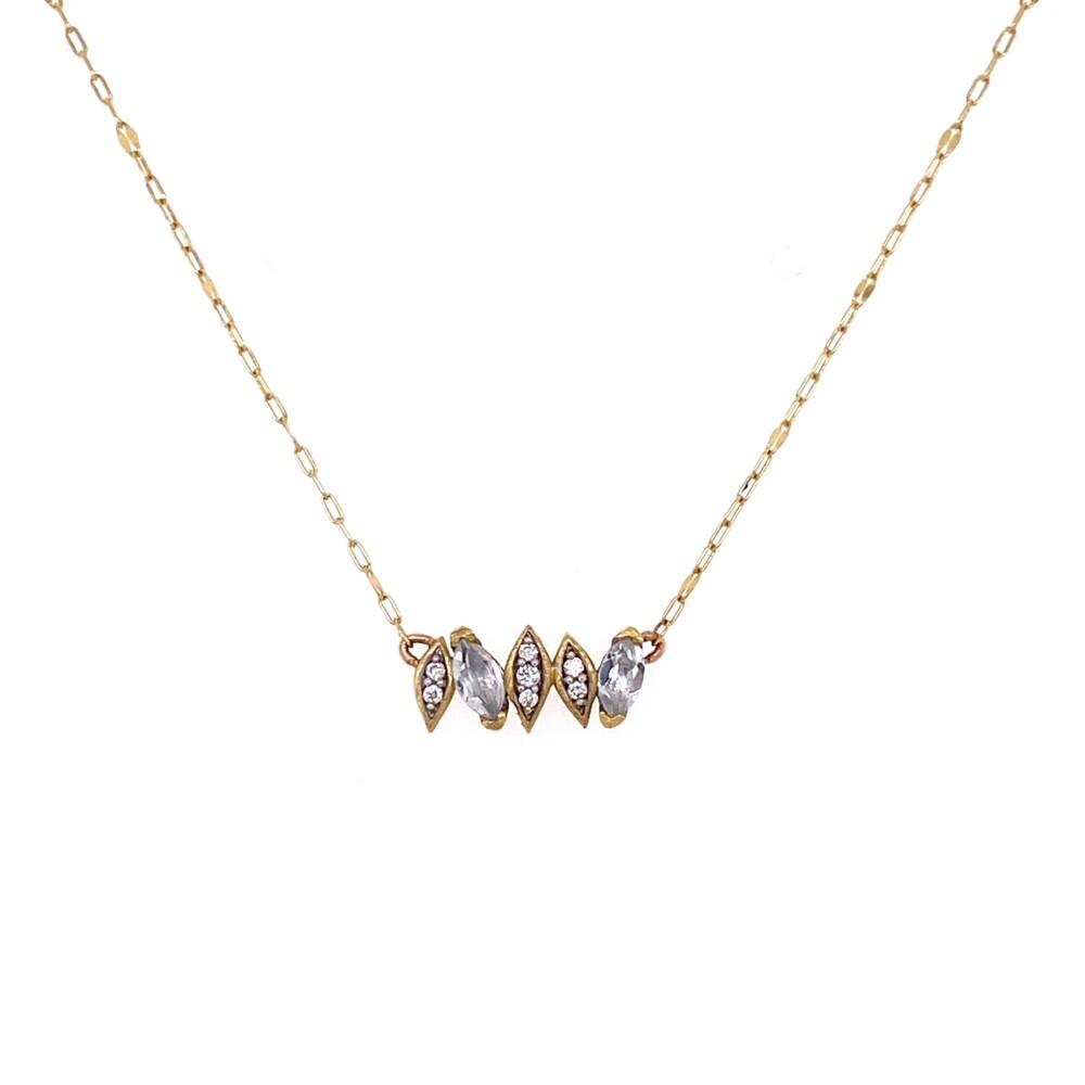"18K YG JudeFrances Simple White Topaz & Diamond Necklace 1.5g, 16"""