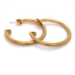 "Closeup photo of 18K YG JudeFrances Brush Gold Hoops Earrings 3.3g, 1.30"" tall"