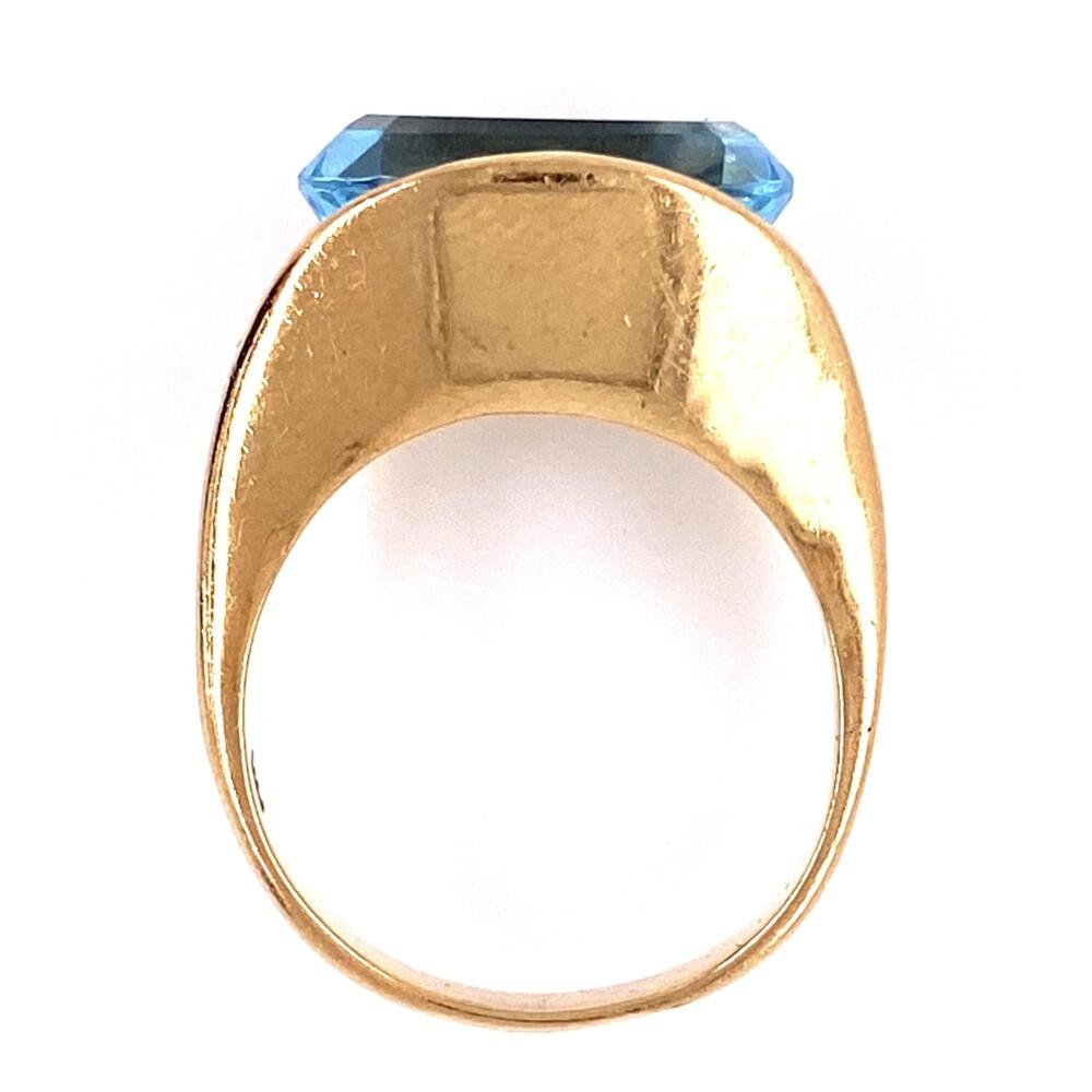 Image 2 for 14K YG 5ct Oval Sky Blue Topaz Split Shank Ring 7.0g, s6.5