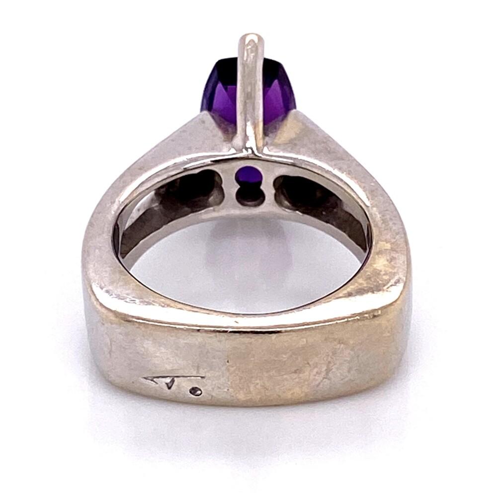 Image 2 for 14K WG TIBERIO Custom Ring with Step Cut Amethyst & Diamonds 10.7g, s5.75