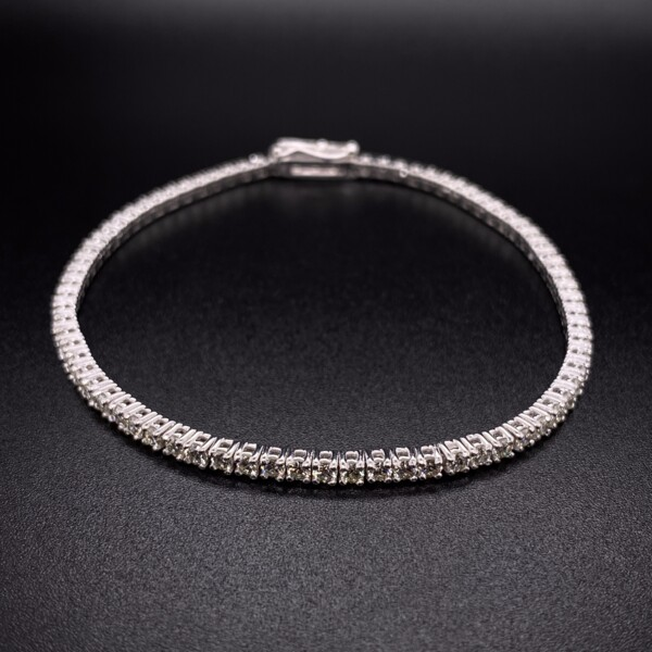 Closeup photo of 14K WG Straight Line Diamond Tennis Bracelet 2.67tcw, 7""