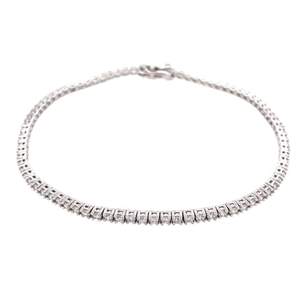 Closeup photo of 14K WG Straight Line Diamond Tennis Bracelet 1.91tcw, 7""