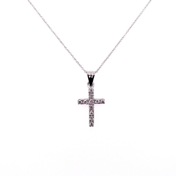 "Closeup photo of 14K WG Pave Diamond Cross Necklace .39tcw, 16-18"""