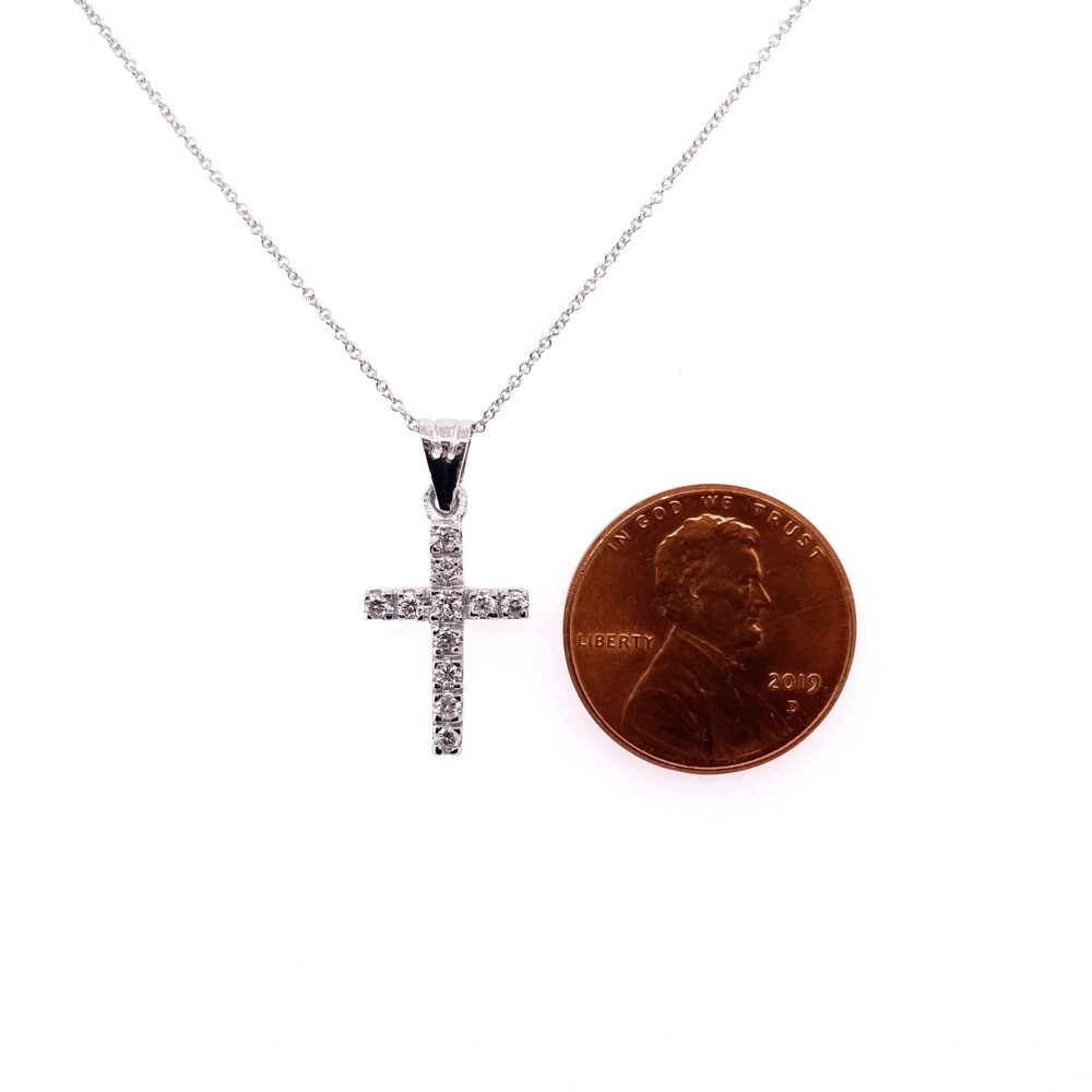 "Image 2 for 14K WG Pave Diamond Cross Necklace .39tcw, 16-18"""