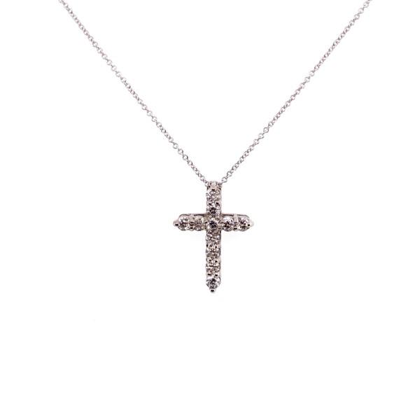 "Closeup photo of 14K WG Pave Diamond Cross Necklace .36tcw, 16-18"""