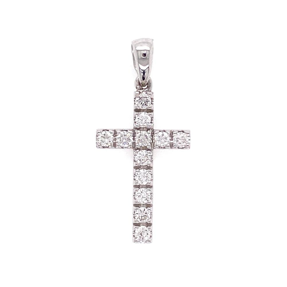 14K WG Pave Diamond Cross Pendant .35tcw with bale, 1.00g