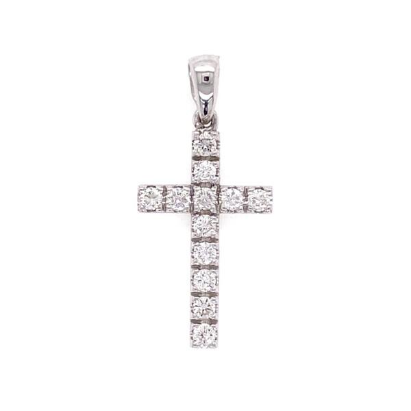 Closeup photo of 14K WG Pave Diamond Cross Pendant .35tcw with bale, 1.00g