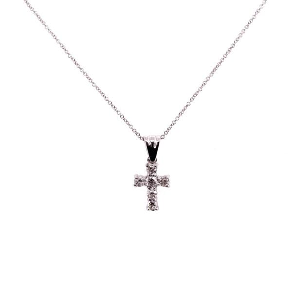 """Closeup photo of 14K WG Petite Pave Diamond Cross Necklace .24tcw, 16-18"""""""
