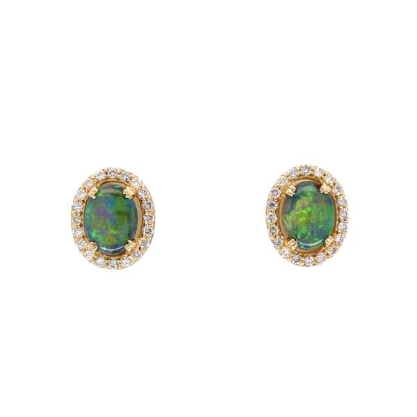 Closeup photo of 18K YG 1.05tcw Oval Black Opal & .24tcw Diamond Stud Earrings