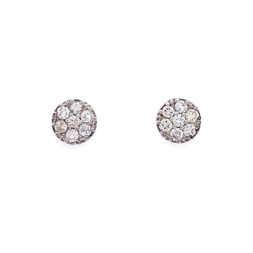 Image 2 for 14K WG Circle Diamond Pave Stud Earrings 1.00tcw