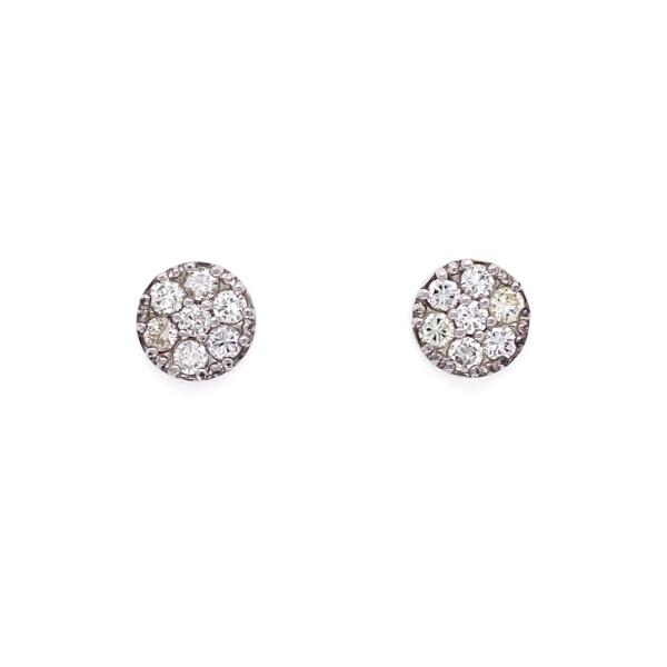 Closeup photo of 14K WG Circle Diamond Pave Stud Earrings 1.00tcw