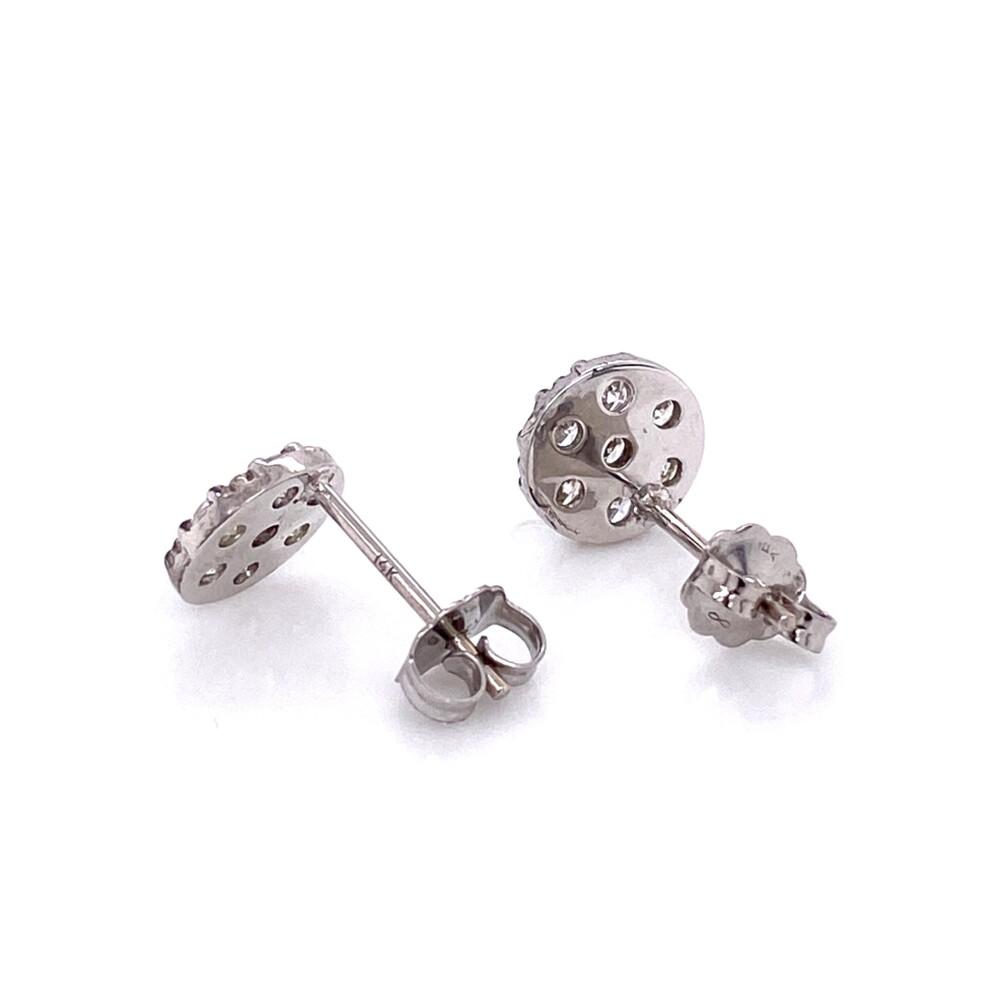 14K WG Circle Diamond Pave Stud Earrings 1.00tcw