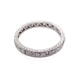 Closeup photo of Platinum Art Deco Diamond Eternity Band with Engraving 1.21tcw, s8.5