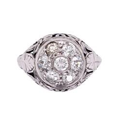Closeup photo of 18K WG Edwardian Diamond Cluster Dome Ring .88tcw, s5