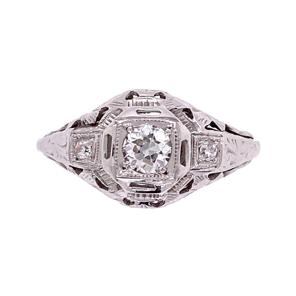 18K WG Art Deco Diamond Ring .22ct Center & .04tcw side Diamonds, s6