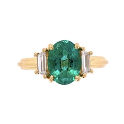 Closeup photo of 18K YG Classic 1.69ct Oval Emerald & .46tcw Diamond Ring, s6.5