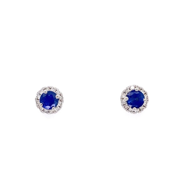 Closeup photo of 14K WG .81tcw Sapphire & Halo .19tcw Diamond Earrings