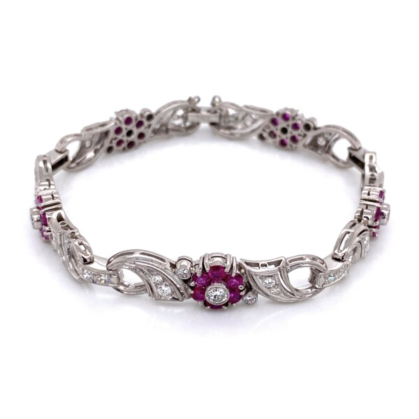 Closeup photo of Palladium 1950's Ruby & Diamond Bracelet, 7""