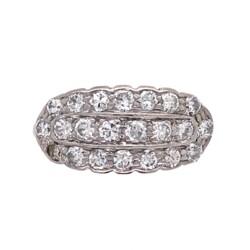 Closeup photo of 14K 2Tone Art Deco Diamond 3 Row Cluster Band .75tcw, s6.5