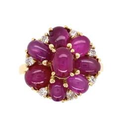 Closeup photo of 18K YG 1960's 7.5tcw Burma Star Ruby Cluster Ring with .27tcw Diamonds, s7