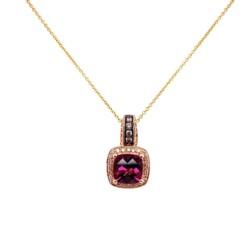 "Closeup photo of 14K RG LEVIAN Garnet & Diamond Pendant 18"""