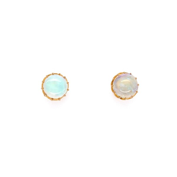 Closeup photo of 18K YG Victorian 12 Prong Opal Stud Earrings 2.00tcw