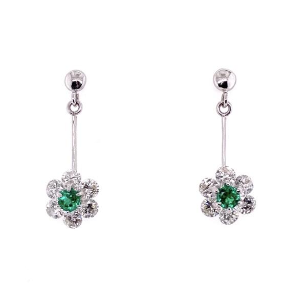 Closeup photo of Platinum Emerald Drop Earrings with 1.75tcw Diamonds