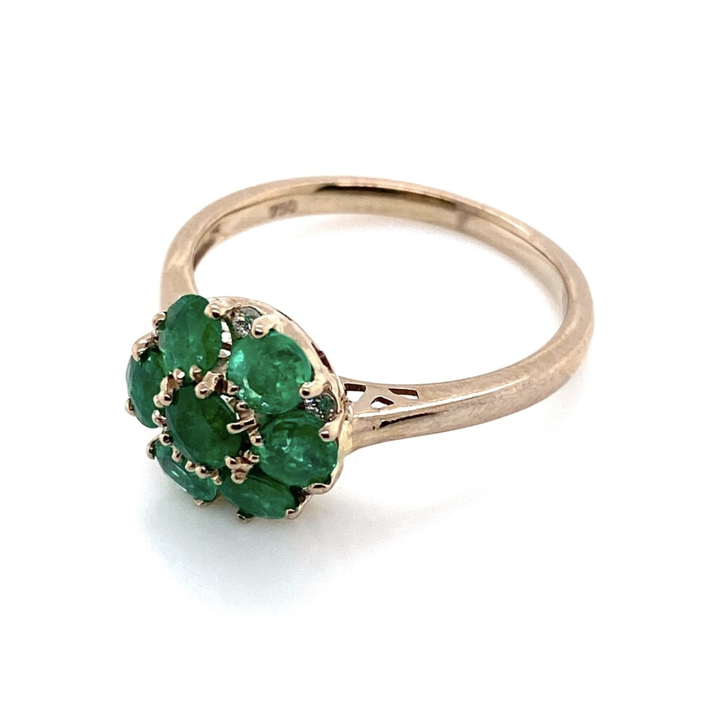 Image 2 for 18K WG 1.06tcw Round Emerald Cluster & .07tcw Diamond Ring, s7