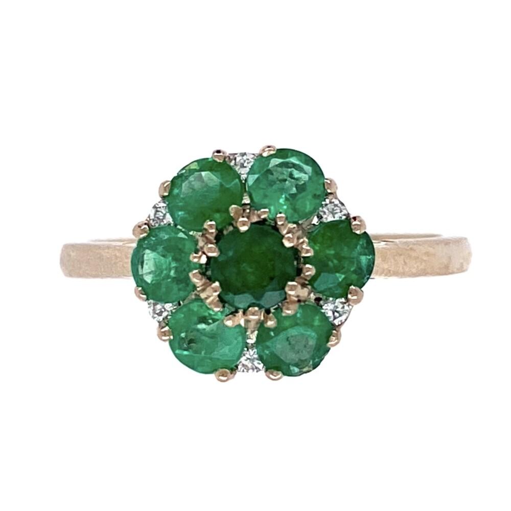 18K WG 1.06tcw Round Emerald Cluster & .07tcw Diamond Ring, s7