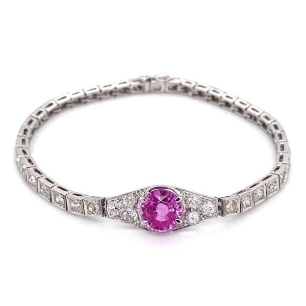 Closeup photo of 14K WG 2.20ct Round Pink Sapphire & 2.25tcw Diamond Bracelet 12.6g, 6.5""