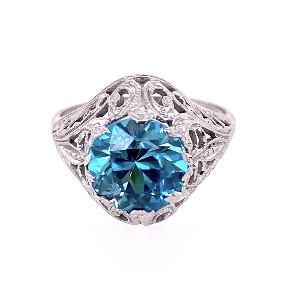 Image 2 for 14K WG Art Deco 3.20ct Round Deep Blue Zircon Ring, s6.5