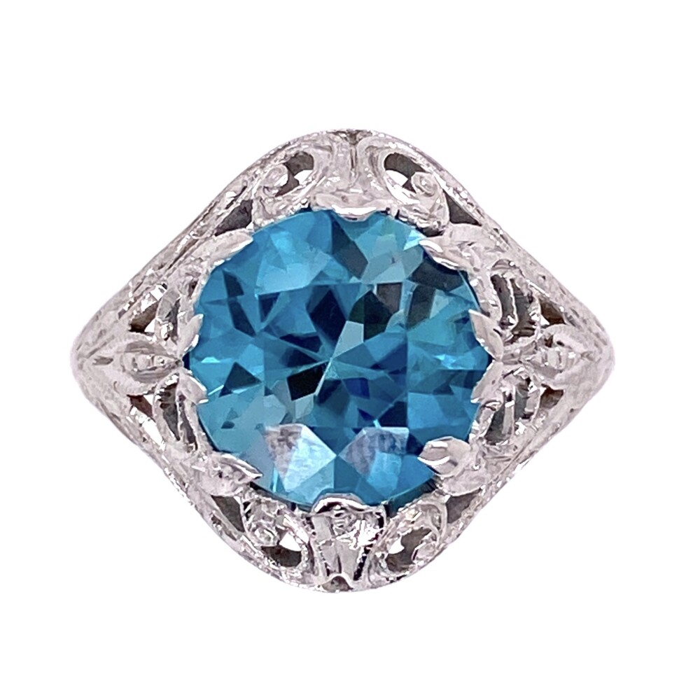 14K WG Art Deco 3.20ct Round Deep Blue Zircon Ring, s6.5