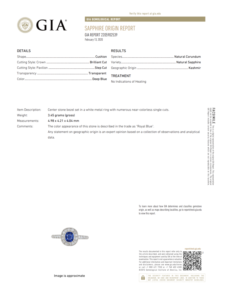 Platinum Art Deco .99ct NO HEAT Kashmir Sapphire GIA & .32tcw Diamond Ring, s6.5