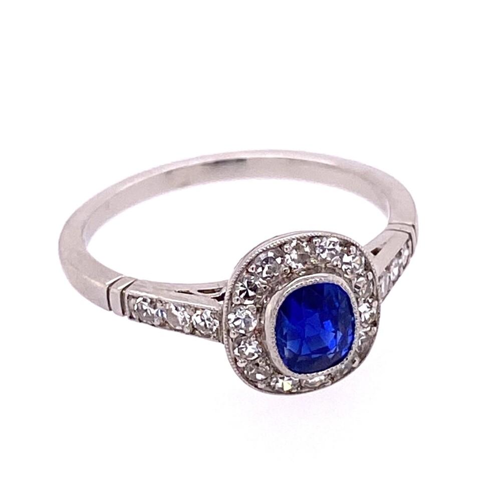 Image 2 for Platinum Art Deco .99ct NO HEAT Kashmir Sapphire GIA & .32tcw Diamond Ring, s6.5
