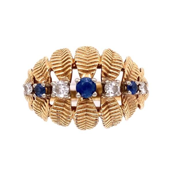 Closeup photo of 14K YG 1960's Dome Leaf Design Sapphire & Diamond Ring 4.9g, s7.5