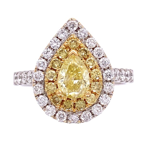 Closeup photo of 18K WG .1.56tcw Pear Shape Yellow Diamond with Double Halo Diamond Ring 6.6g, s8