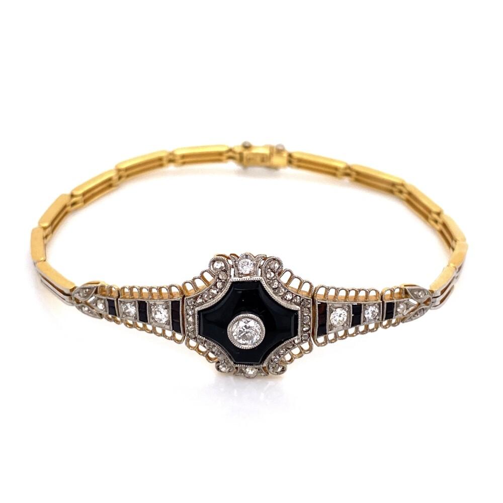 """Platinum on 18K Edwardian Onyx & Diamond Bracelet .85tcw, 13.1g, 7.5"""""""