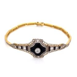 "Closeup photo of Platinum on 18K Edwardian Onyx & Diamond Bracelet .85tcw, 13.1g, 7.5"""