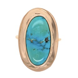 Closeup photo of 14K Yellow Gold Victorian Conversion Natural Turquoise Ring 4.4g, s