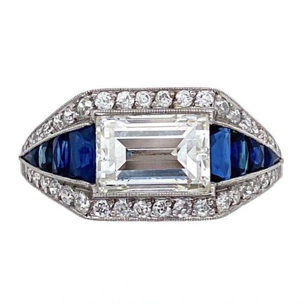 Closeup photo of Platinum Art Deco 2.02ct Emerald Cut Diamond East-West Ring with Sapphires, s6.75