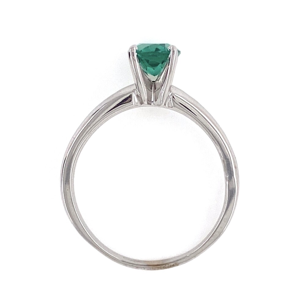 18K WG Solitaire 1.10ct Blue-Green Oval Tourmaline Ring, s6.5