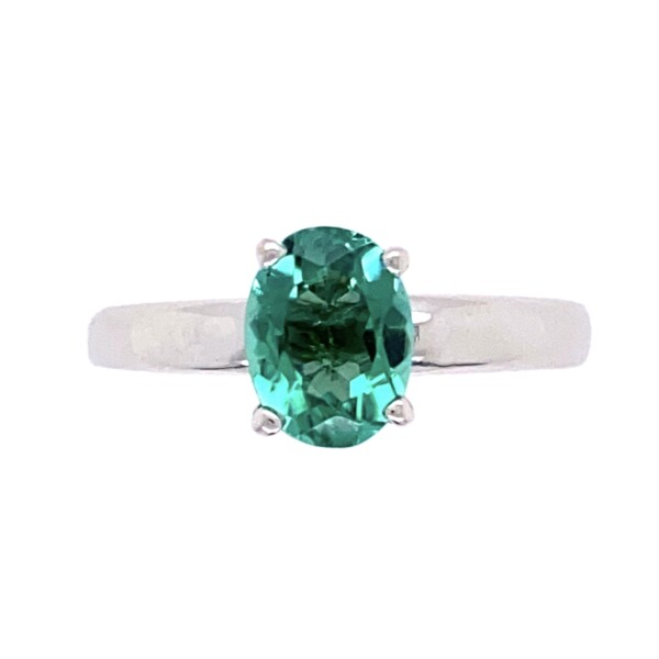 Closeup photo of 18K WG Solitaire 1.10ct Blue-Green Oval Tourmaline Ring, s6.5