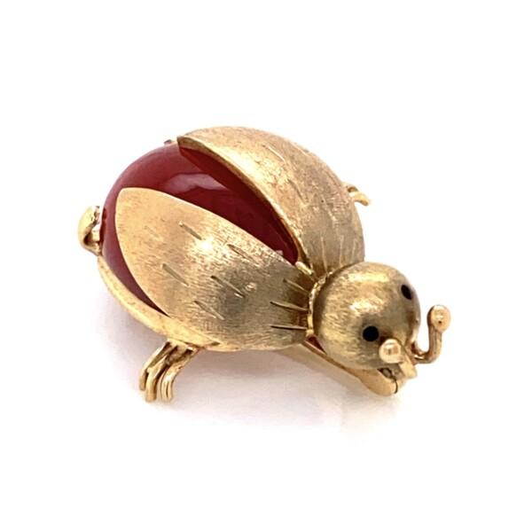 Closeup photo of 14K YG Carnelian Lady Bug Brooch MEP Italy 5.6g